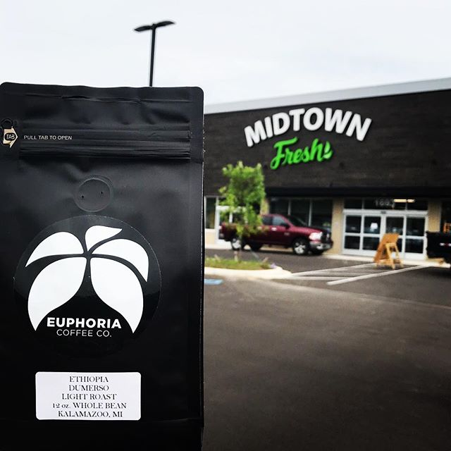 Alright, so who else is excited for Midtown Fresh to open!? They will be opening their doors THIS SUNDAY!  The store is absolutely amazing and they are carrying a selection of made in Kalamazoo products including 8 varieties of Euphoria Coffee!  Another great addition to Kalamazoo!  Congrats @midtownfreshmarket! #kalamazoo #midtownfreshmarket #euphoriacoffee #buylocal #buykalamazoo #madeinmichigan #specialtycoffee #coffee #coffeeroaster #kzoo #puremichigan #puremi #kzoo #kalamazoomi #westmichigan #groceryshopping #coffeelover