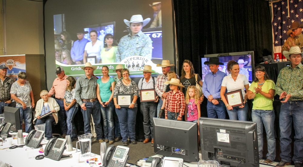 Wedel customers receiving GridMaster Awards at the 2015 Winnemucca Superior Sale