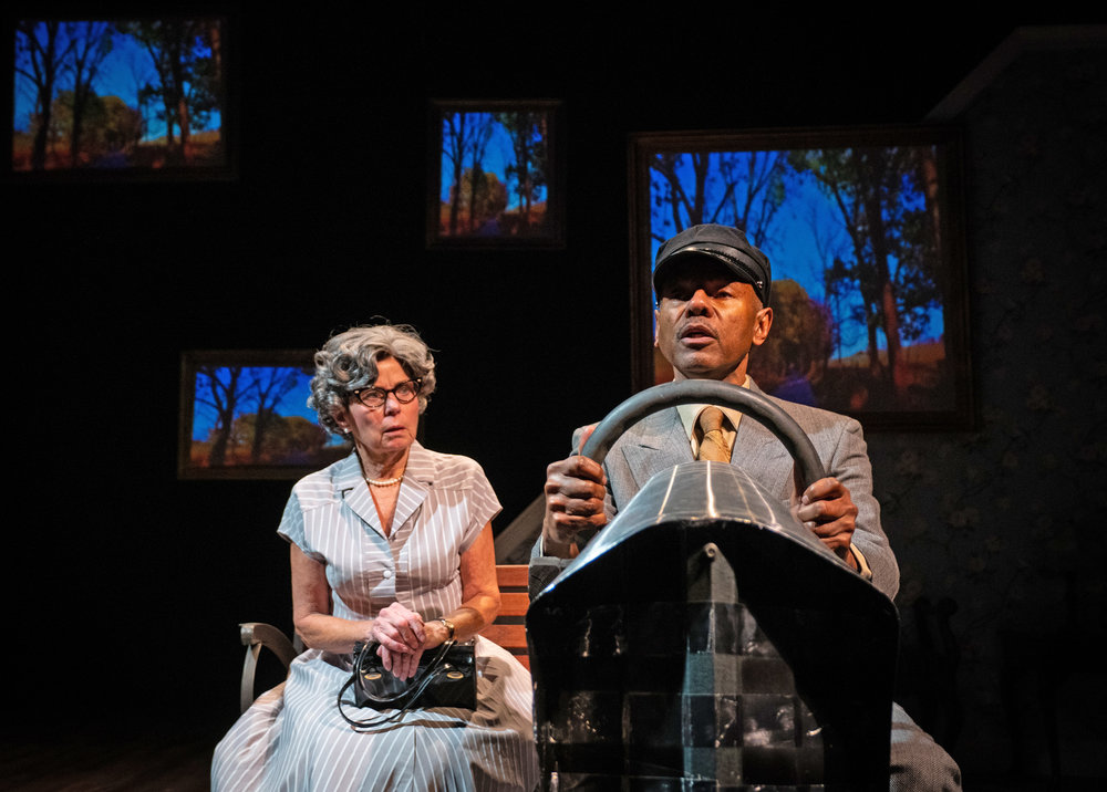 Adele Robey (Daisy Werthan) and James Foster Jr. (Hoke Colburn) in Driving Miss Daisy, now playing at Anacostia Playhouse. Photo by Jabari Jefferson.