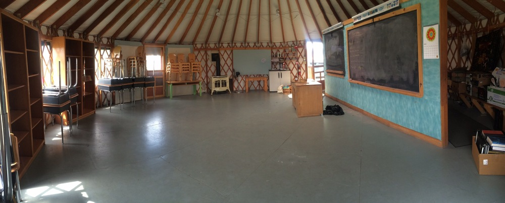 The partition will soon be removed from the Canvas Yurt, freeing it to be used for music, rehearsals, class plays, assemblies, movement classes in icy weather, and visiting performers. Yay!