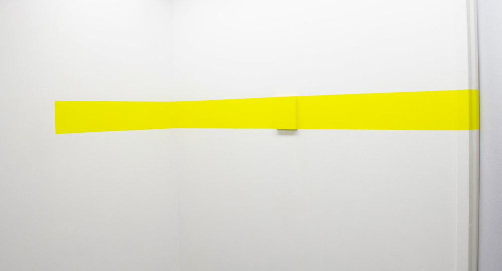 "Horizontal Corner Y, 2016, Flashe and wood,6 1/2"" x 98 1/4"" x 3/4"""