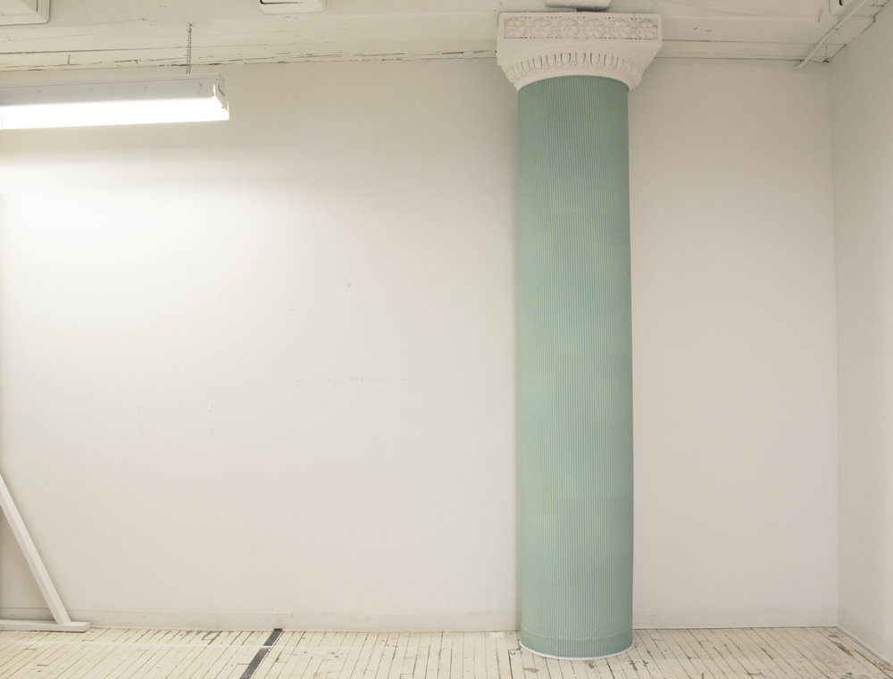 "Column 1590 , 2017, column and Photo Tex, 111"" x 20"" x 20"""