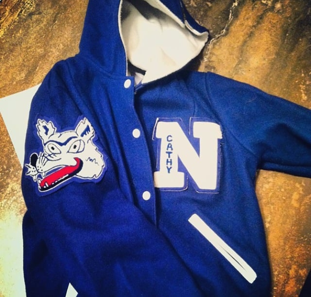 Mom's Nev. Cheer letterman's jacket. Circa 1983.