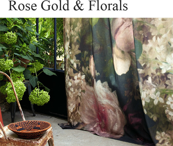 This spectacular, overscaled sheer floral curtain is truly unique. Soft shell coloured cushions and upholstery marry well with subtle accents of brass and rose gold, giving your home a feminine, gentle warmth.