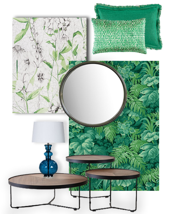 Bring an air of the exotic into your home with these tropical palm leaf designs with wallpaper, a statement piece of furniture or a cushion. Our walnut and metal nest of coffee tables and metal mirror will add an element of sophistication.