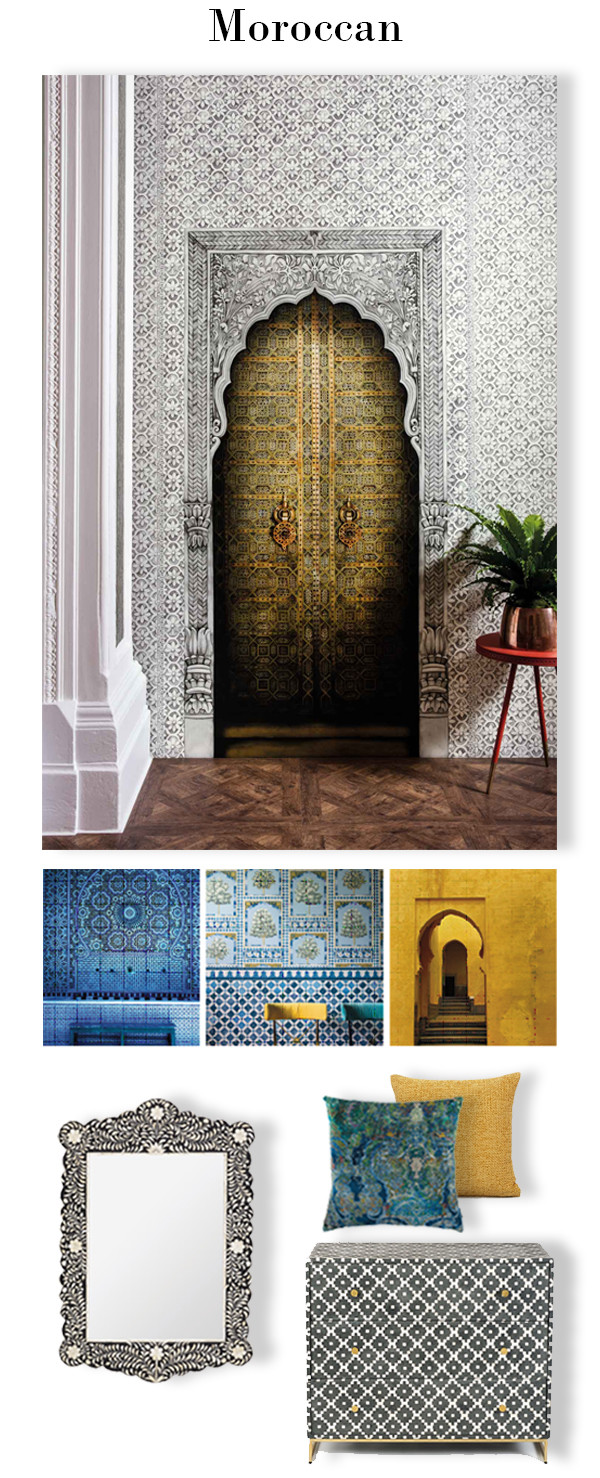 Fall in love with Morocan inspired mosaic designs in jewel tones of azure, saffron and turquoise. Wallpapers and murals designed by Martyn Lawrence Bullard can make an eye catching statement in your home.