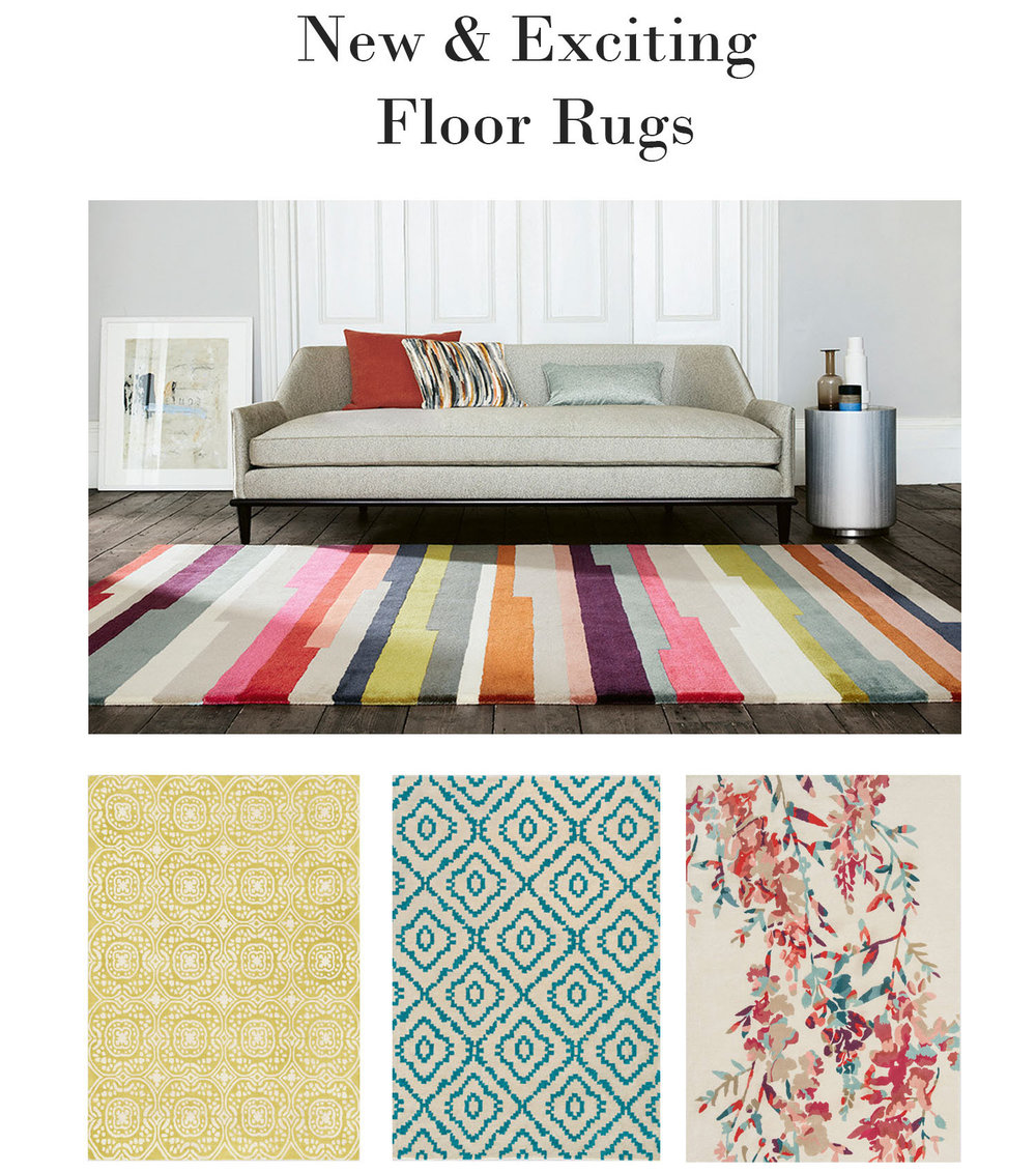Our talented English fabric suppliers have turned some of their most popular designs into hand-tufted 100% wool floor rugs in a range of stunning colourways.