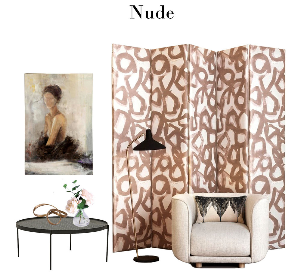 The ever-popular shades of blush have evolved into earthy tones of nude. The abstract painterly design on this screen makes for a striking backdrop and works well when paired with monochromatic black and white.
