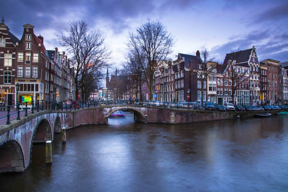 Winter sunset in Amsterdam