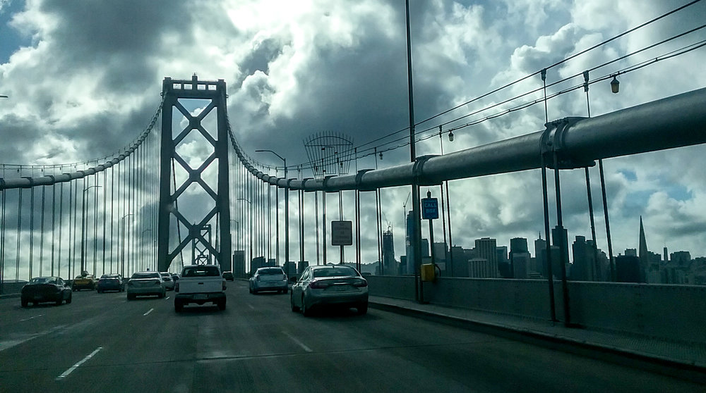Driving across the Bay Bridge on the way to move into the big city.