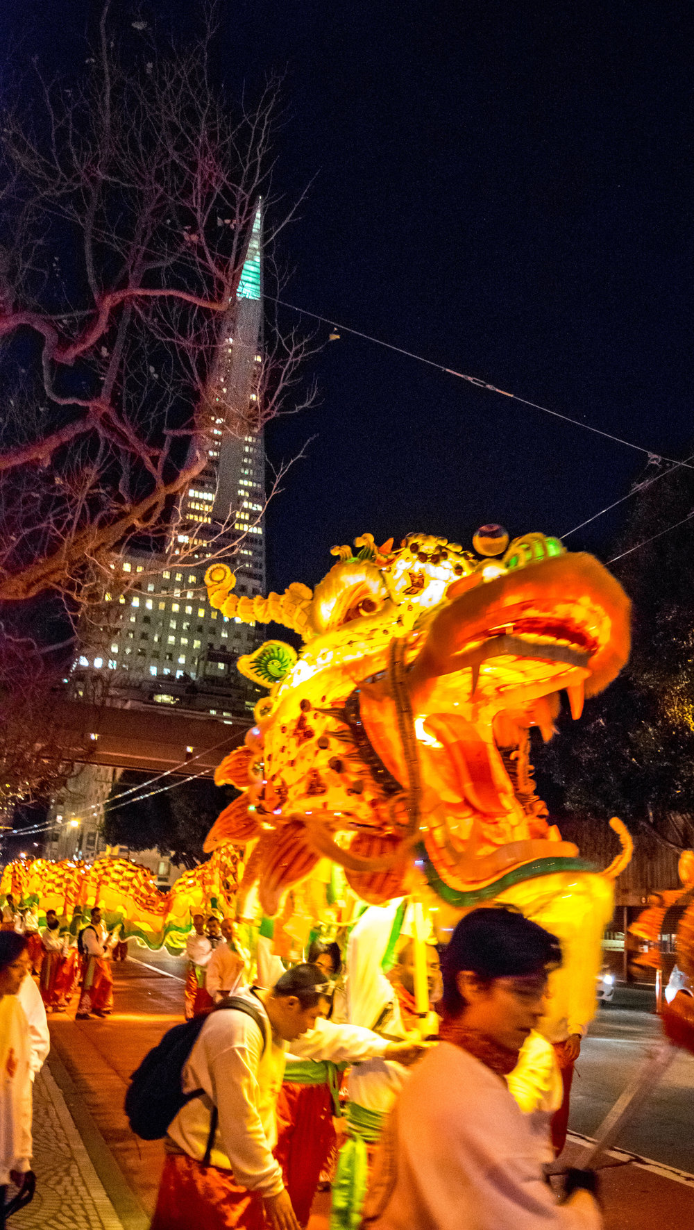 Parading Dragon with the Transamerica Pyramid seen behind.
