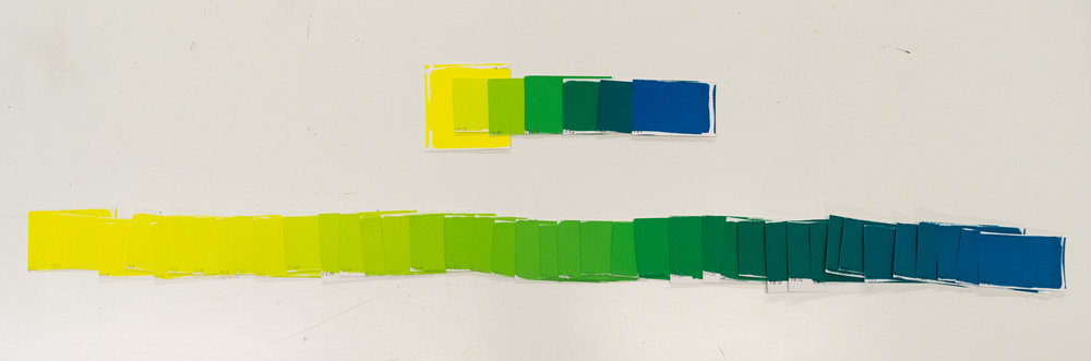 The 7 swatches chosen out of the 47 steps painted for 1/3rd of the color wheel.