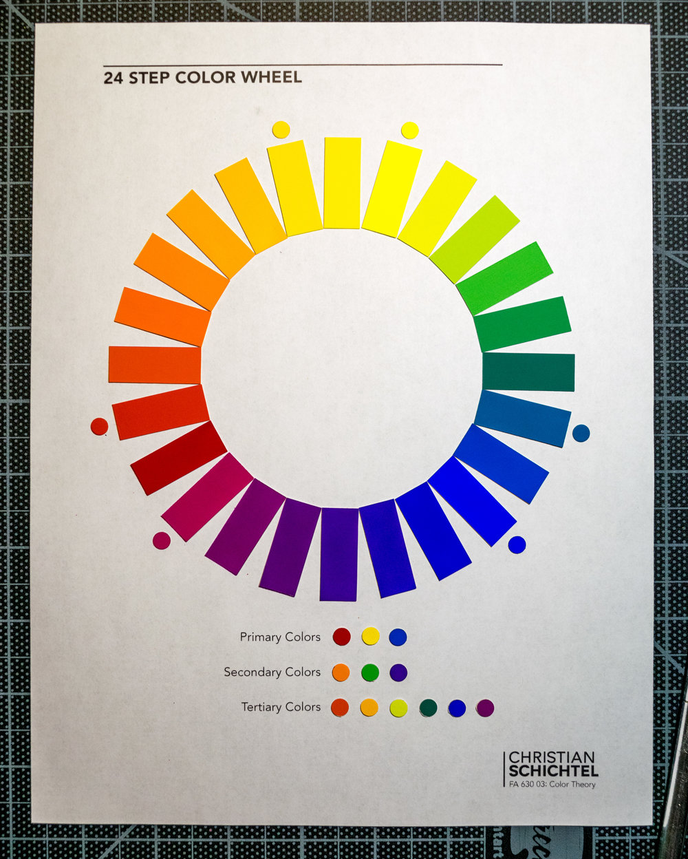 The completed 24 step color wheel. Those six dots next to the wheel indicate the base tube colors used to create the full range.