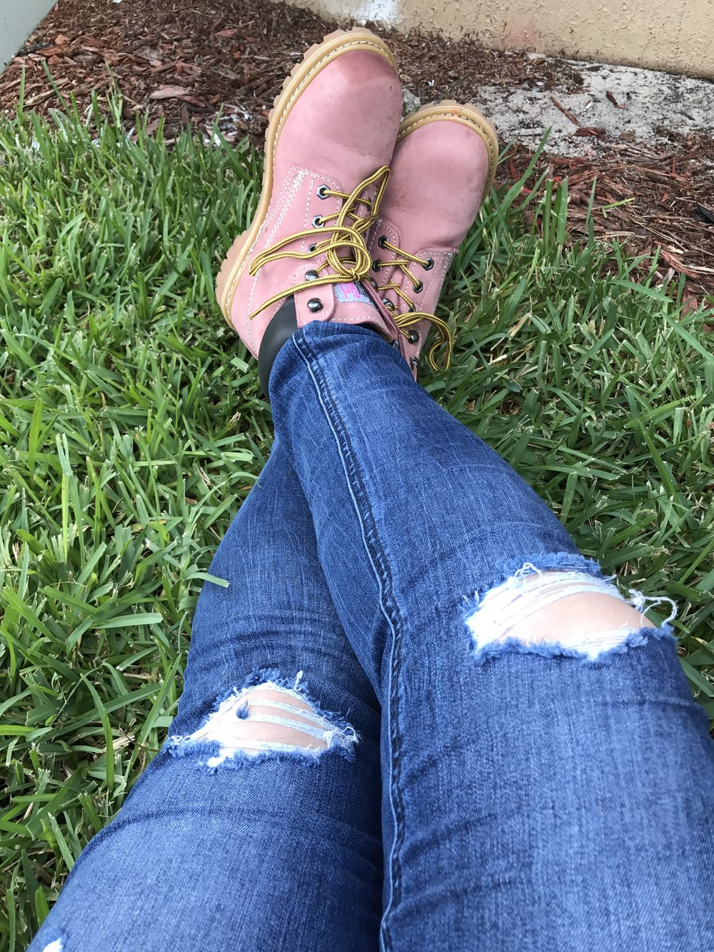 Taking a break and enjoying the breeze after a successful week of work.....in my pink boots! - Sandra