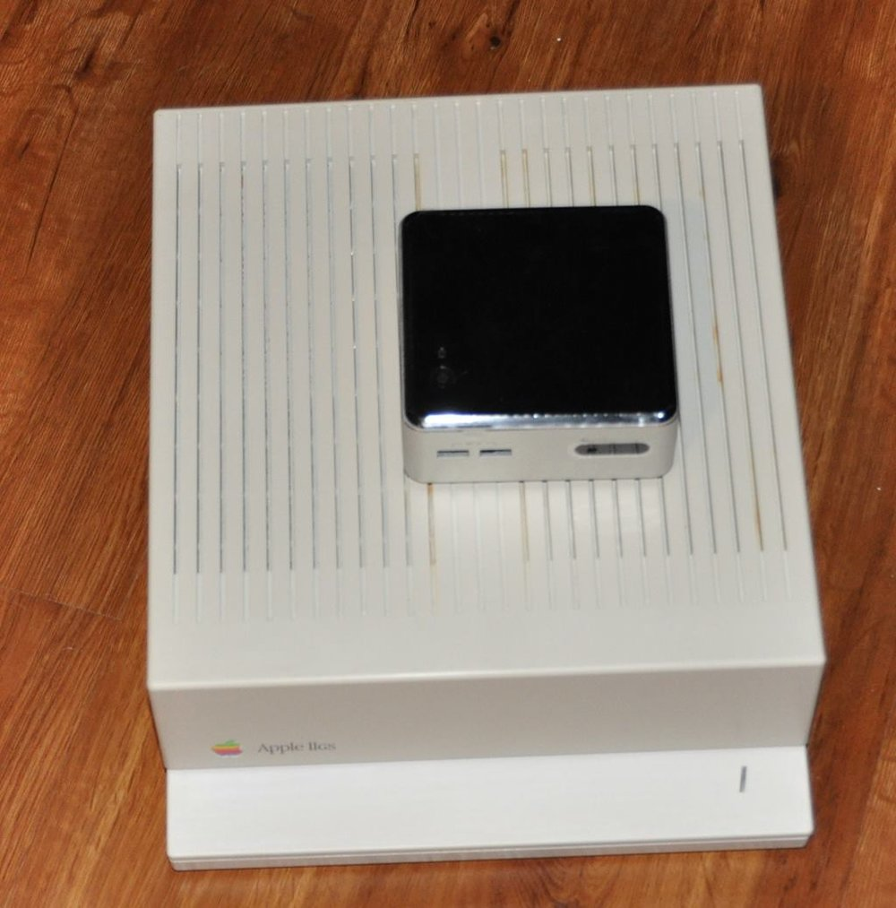Apple IIGS size comparison against an Intel NUC