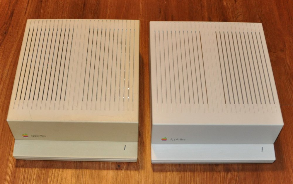 Apple IIGS before and after retrobrite