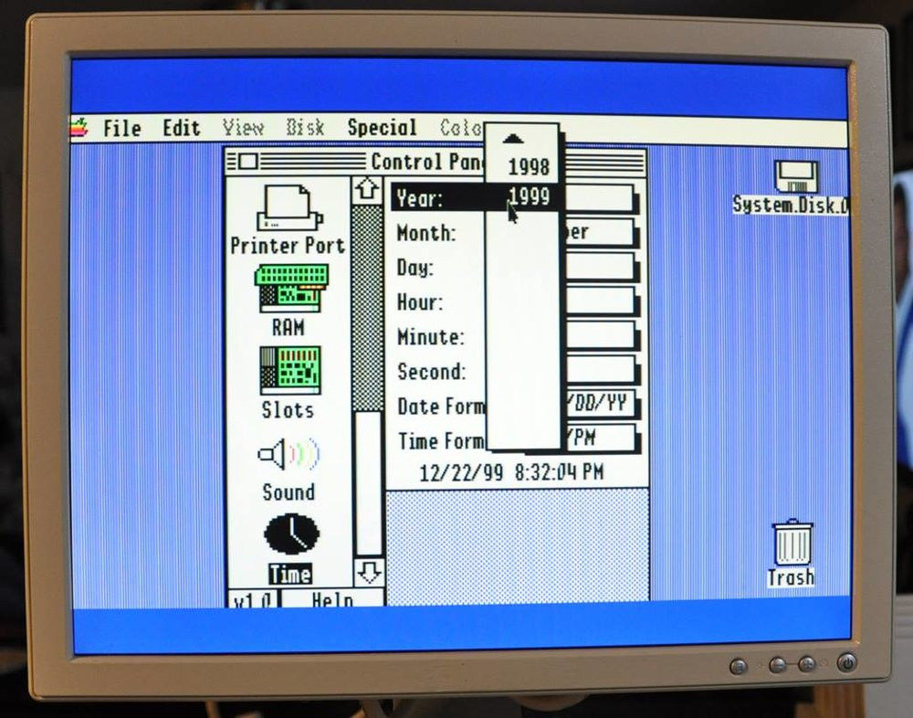 Apple IIGS with date set at 12/22/99. This was the max date for the original OS