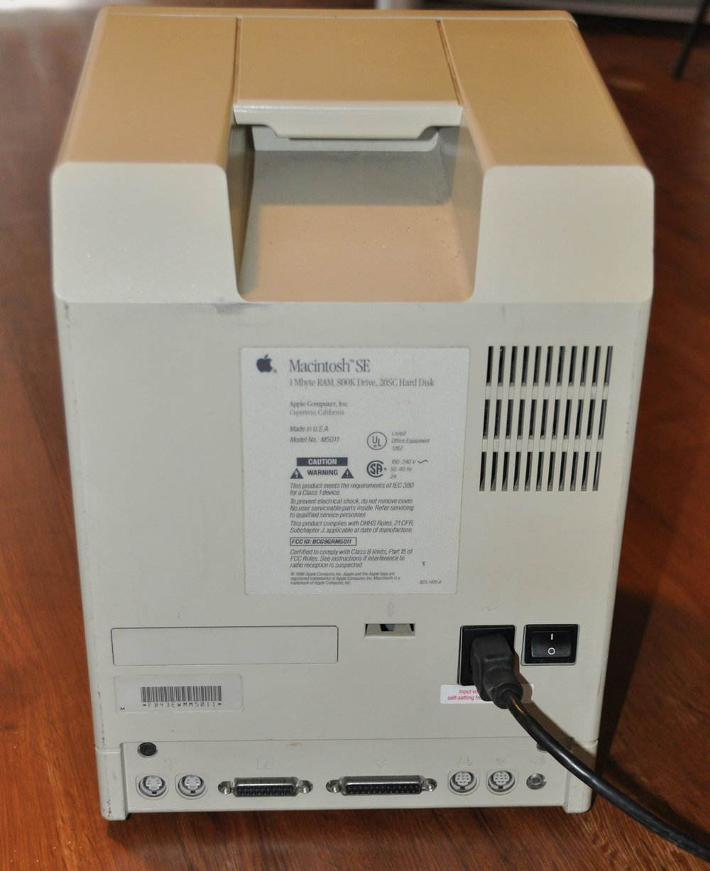 Macintosh SE rear view. This one was shipped to a client in Alaska.