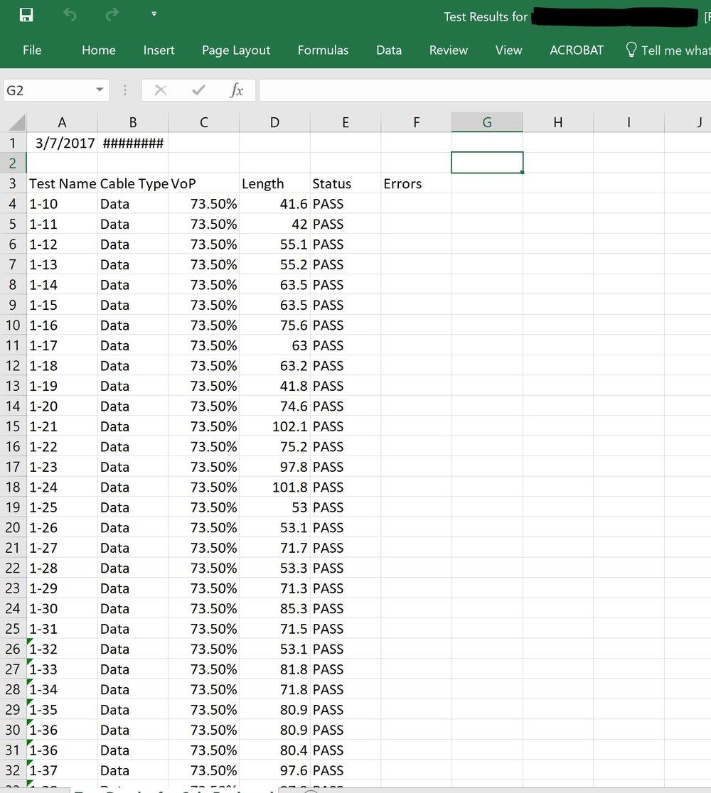 Klein VDV Commander Excel Results