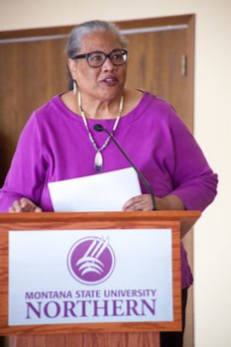Havre Daily News/Floyd Brandt      Executive Director of the Montana Racial Equity Project Judith Heilman speaks Friday in the Student Union Building Ballroom at Montana State University-Northern during the university's Racial Injustice seminar.