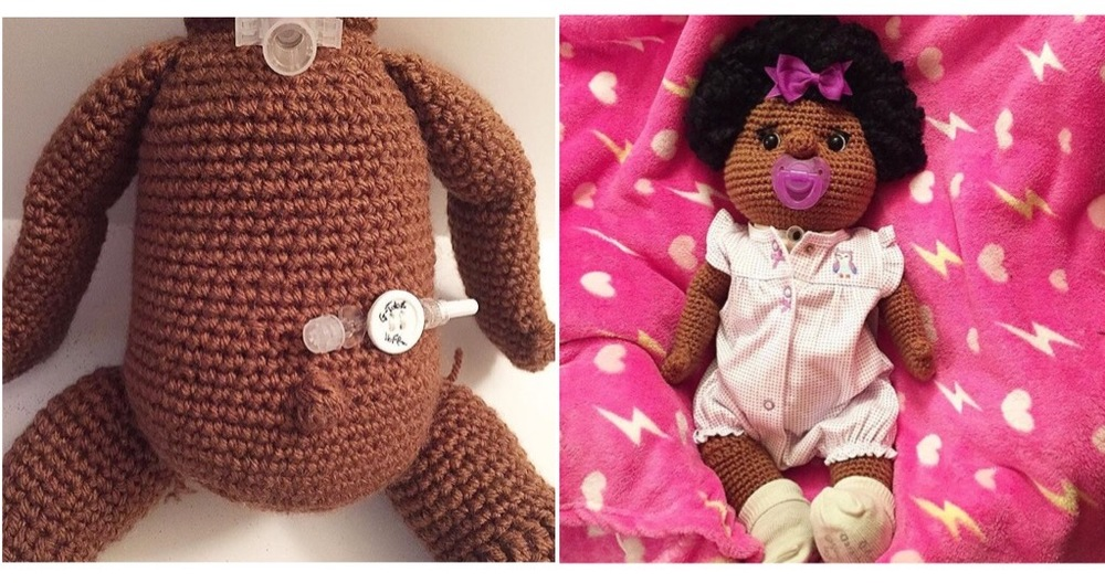 A special doll created for a special young lady designed with a feeding tube and a trach.