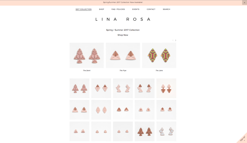 1.  Lina Rosa jewelry       We're a sucker for a good statement piece, and we were so hype to find out about this gem in our own backyard! Lina Rosa Jewelry, handmade by Paulina Rodriguez, is a beautifully crafted line of vintage inspired beaded pieces that make you feel like you're on an island just looking at them. The intricate designs and carefully woven beads are worthy
