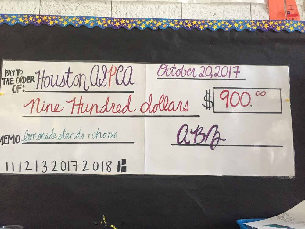 "The classrooms of Ms. Zeiser, Ms. Bulkin, and Ms. Austin (also called the ABZ mulitage class) at Oak Knoll Elementary in Menlo Park, Ca. donated $900 to The Houston ASPCA. Ms. Zeiser writes that she ""would like to recognize my students who put in extraordinary work, time, and kindness to make that donation possible. In the wake of Hurricane Harvey, my students were consumed with anxiety about their human and animal friends in Houston. We discussed what we could do from ""all the way over here in California."" After a robust conversation about kindness in action, the students volunteered to host bake sales, lemonade stands, and do extra chores to earn money for Harvey victims. In the following weeks, I was overwhelmed with pride as the students shared their efforts and triumphs while rallying for the cause. As a group, we decided that our donation would be best sent to the Houston ASPCA you for the amazing work they do to serve our animal friends!"""