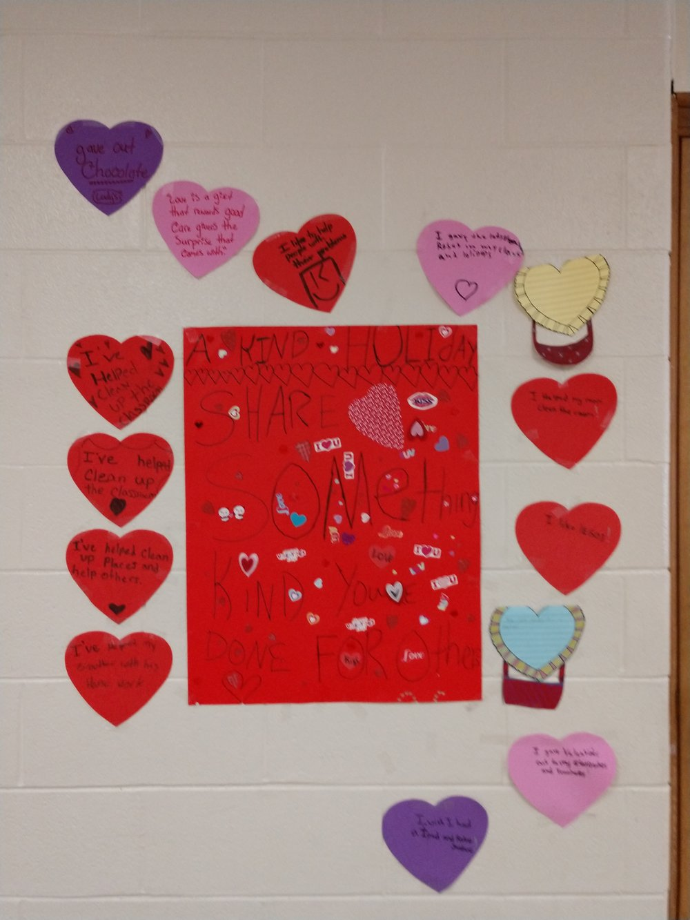 Fifth and sixth and eighth graders shared the kind things they did — giving out chocolate, cleaning up their classrooms and more — on hearts they decorated under the guidance of Ms. Debbie Lee  at M. Clifford Miller middle school in Lake Katrine, NY. They also created posters for Valentine's Day, focusing on kindness. Thank you, Ms. Lee and the kids of M. Clifford Miller middle school for reminding us to celebrate kind holidays all year long!
