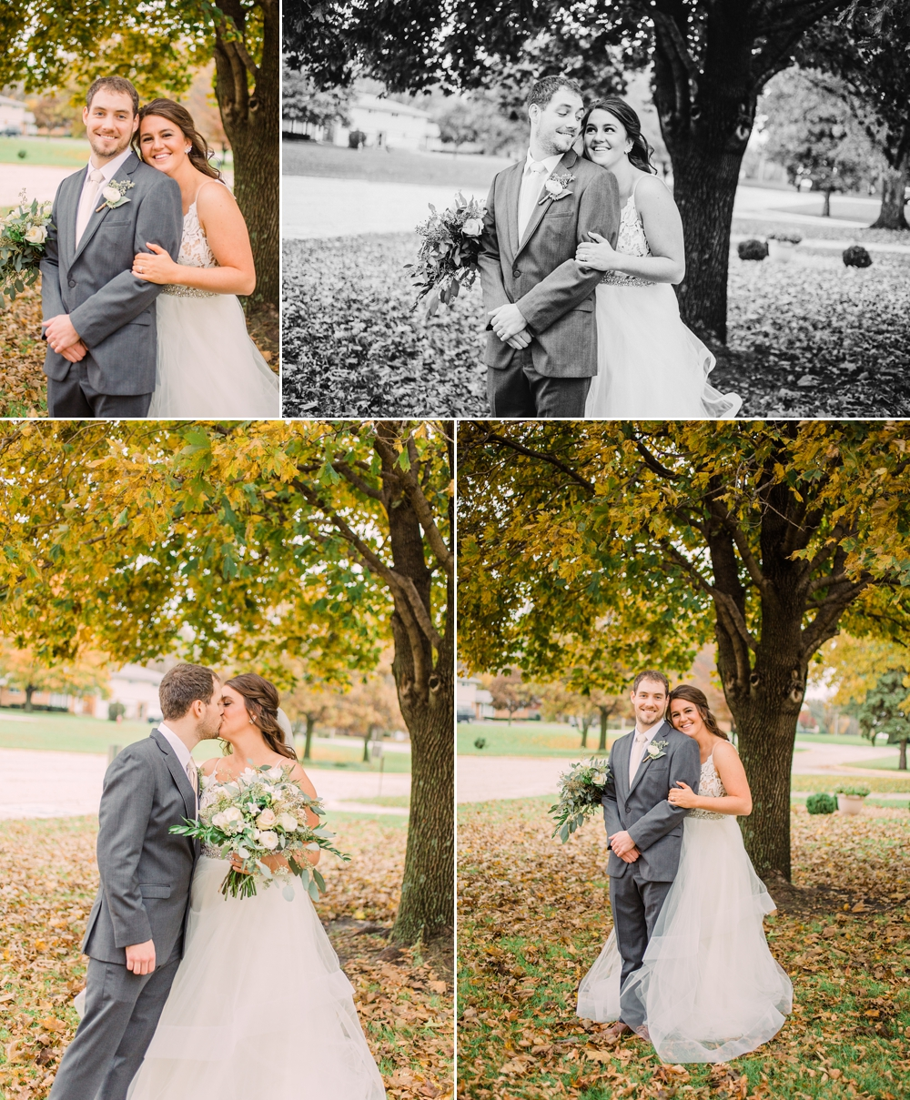 Wedding Photography_Our Saviors Lutheran Church_Humboldt Iowa_bride and groom portraits under fall leaves_Iowa Wedding Photographer.jpg