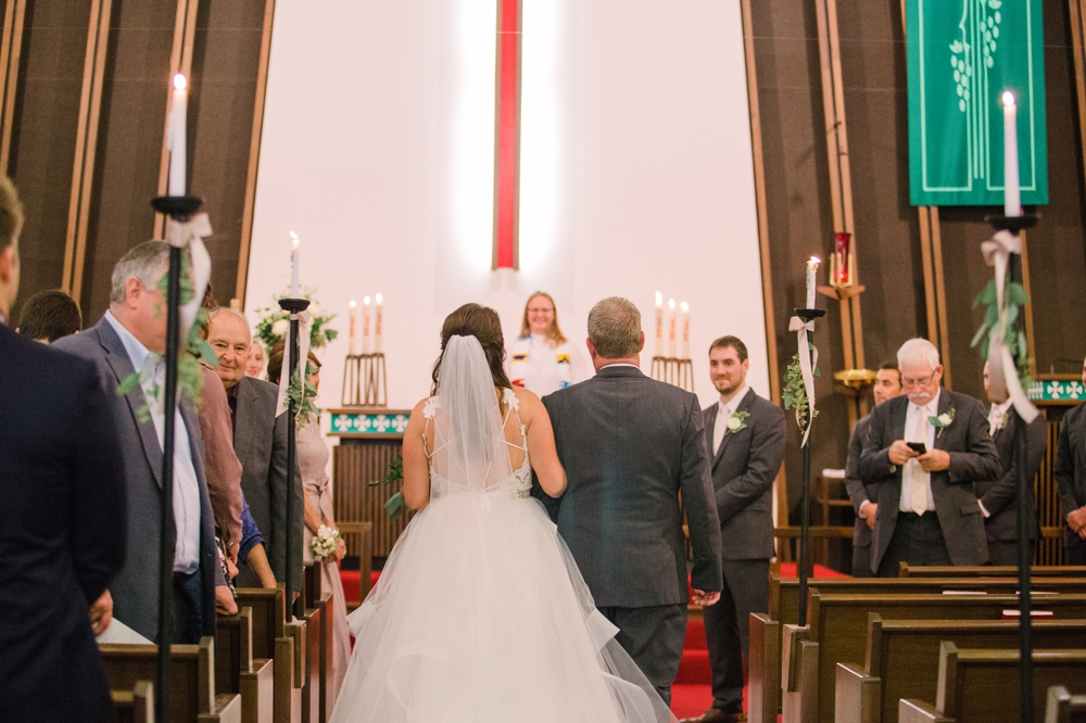 Wedding Photography_Our Saviors Lutheran Church_Humboldt Iowa_father walking bride down aisel_Iowa Wedding Photographer.jpg