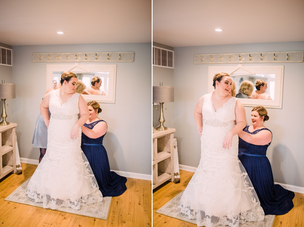 Wedding Photography-Gatherings by Farmhouse Catering-Nevada-Iowa-bride getting in dress with attendants-Iowa Wedding Photographer.jpg