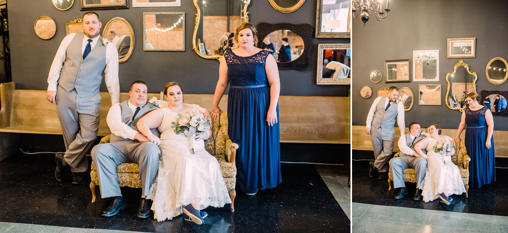 Wedding Photography-Gatherings by Farmhouse Catering-Nevada-Iowa-wedding party on couches in front of mirror wall-Iowa Wedding Photographer.jpg