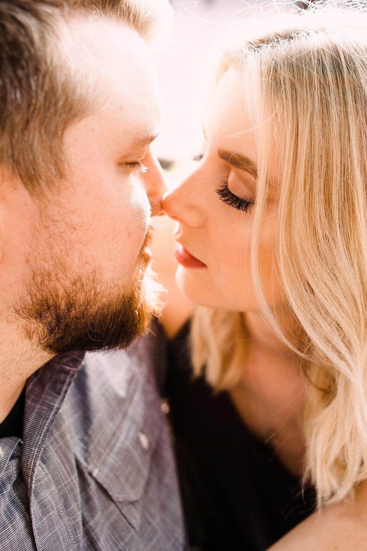 engagement photography-closeup of couple almost kiss-historic main street-ames-iowa-iowa engagement photographer.jpg