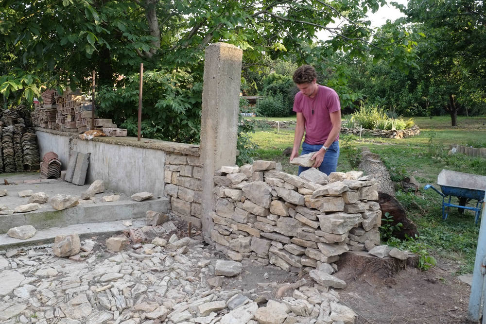 Building a drystone wall in Bulgaria.