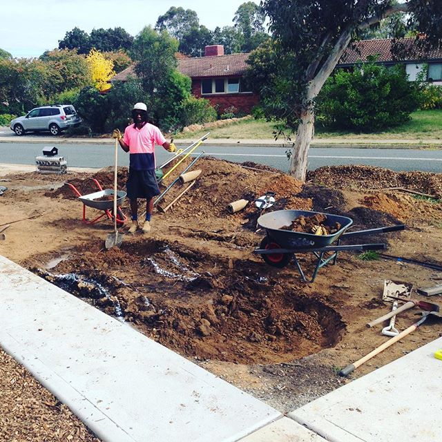 We're digging a pond to swale water harvesting feature in Hackett