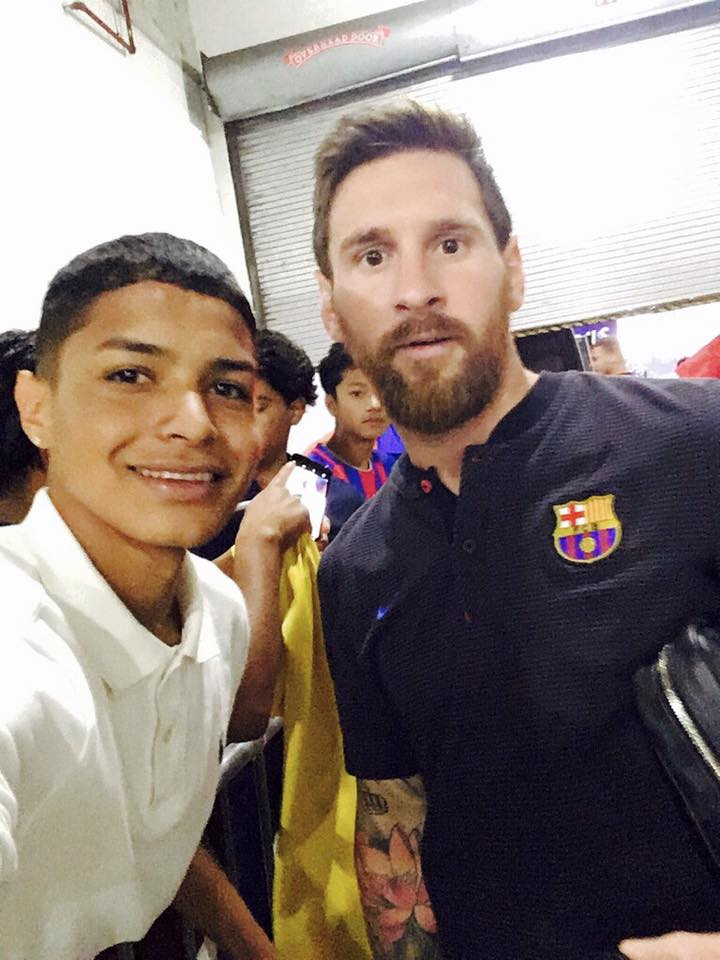 what a day! after taking a Open Goal Project field trip to watch FC Barcelona training at FedEx Field, we were able to meet the players! here's one of our boys, Lenin, snapping a selfie with the one and only Lionel Messi: a night we'll never forget!