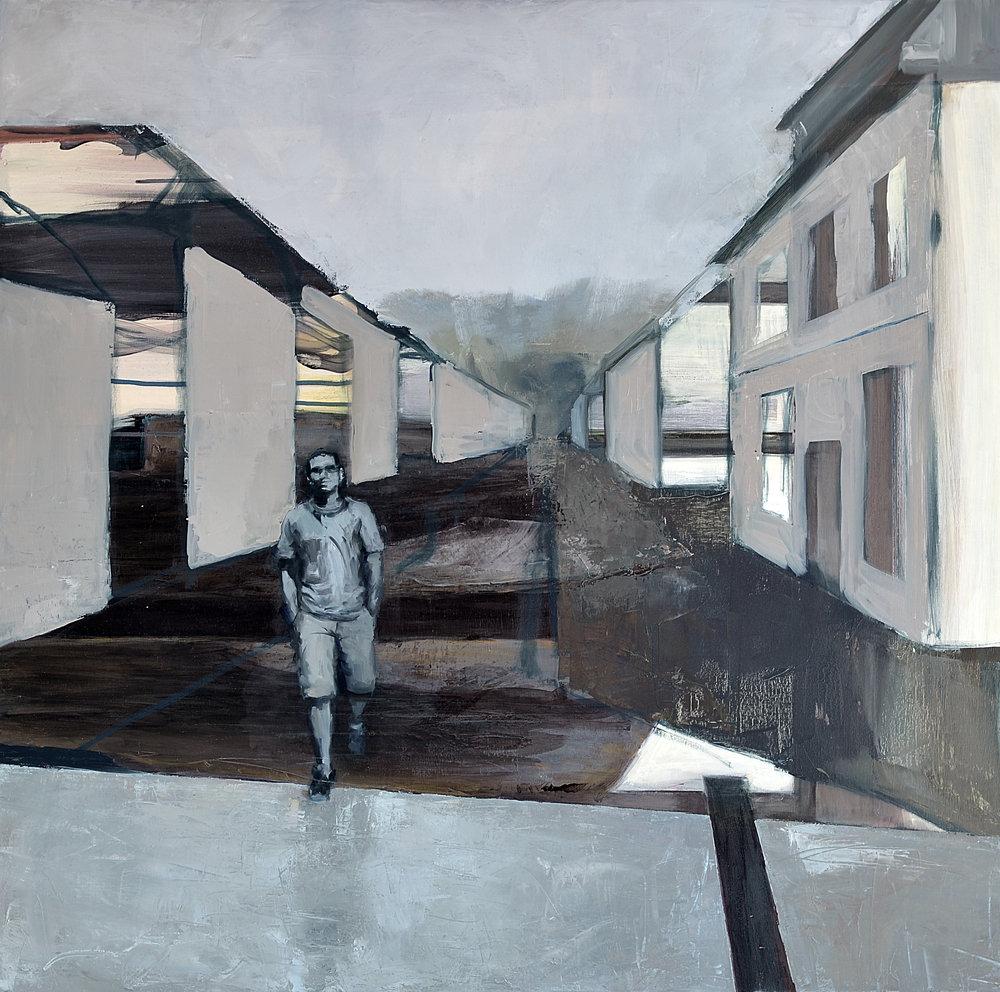 Mann (24) med ett ben i Syria og ett i Norge,olje på lerret 92 x 95 cm