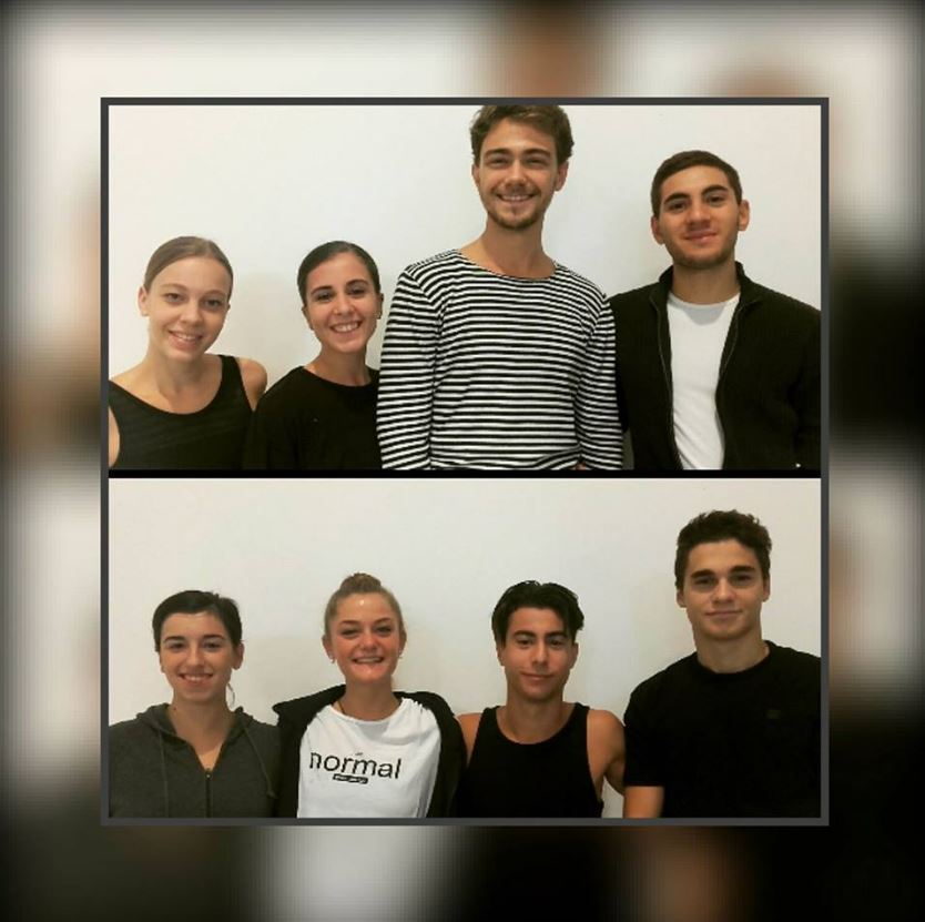 En haut (de gauche à droite) : Amélie Olivier, Roberta Calio, Lohan Jacquet, Giorgio Tinari    En bas (de gauche à droite) : Michelle Salvatore, Marie Ramet, Alessandro Giachetti, Kevin Seiti