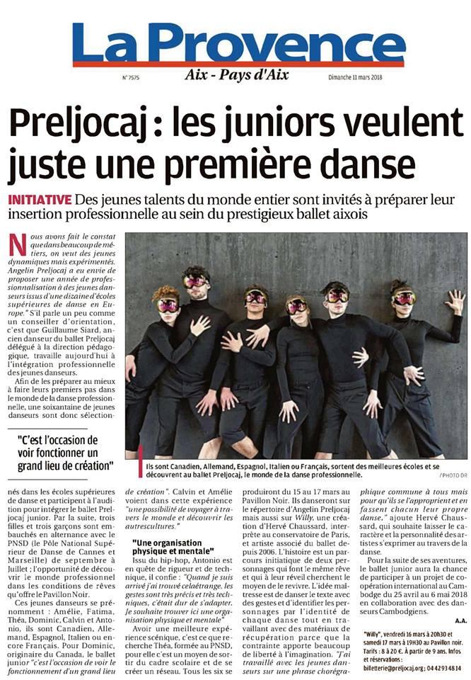 """Article sur le Ballet Preljocaj Junior dans le magazine """"La Provence"""""""