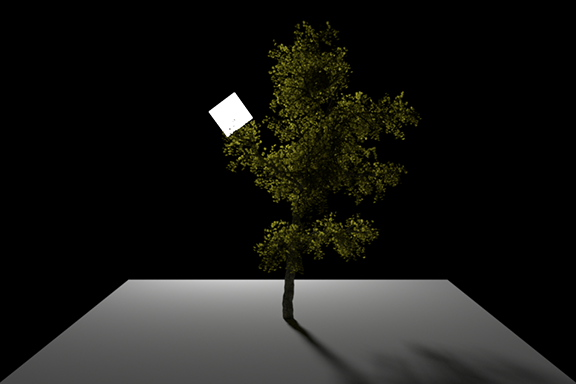 Translucency BSDF on the leaves of the tree, light shining through leaves from area emitter