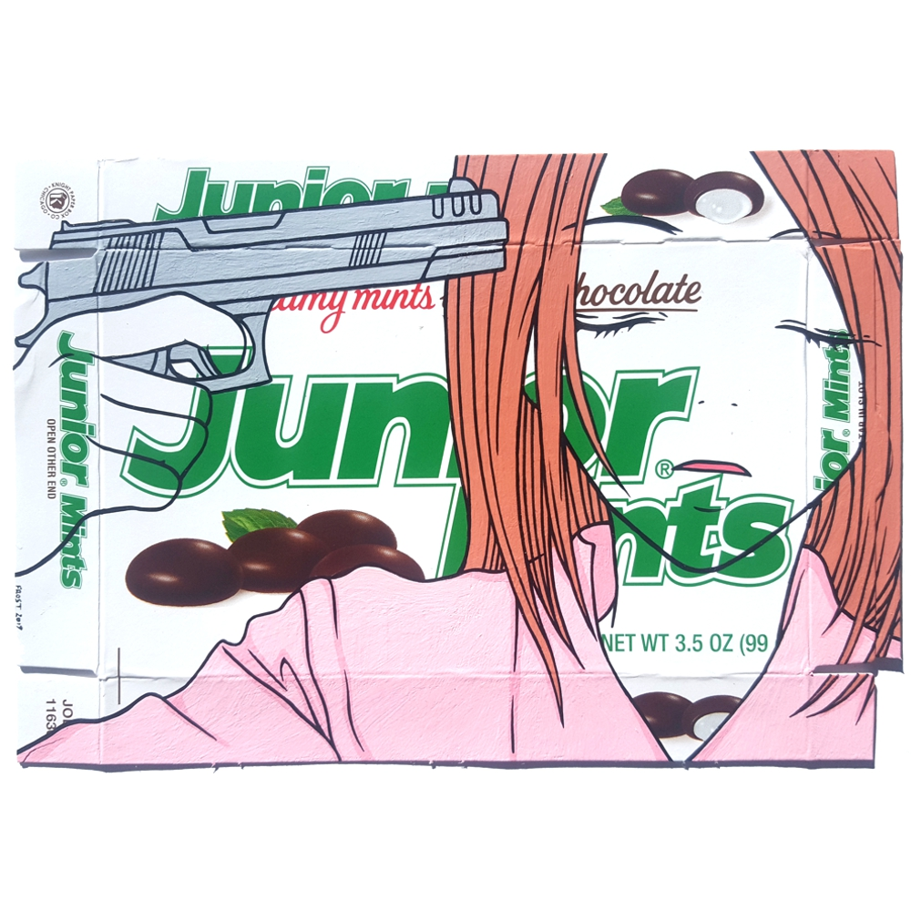 Junior Mints - Acrylic on candy package.  2017