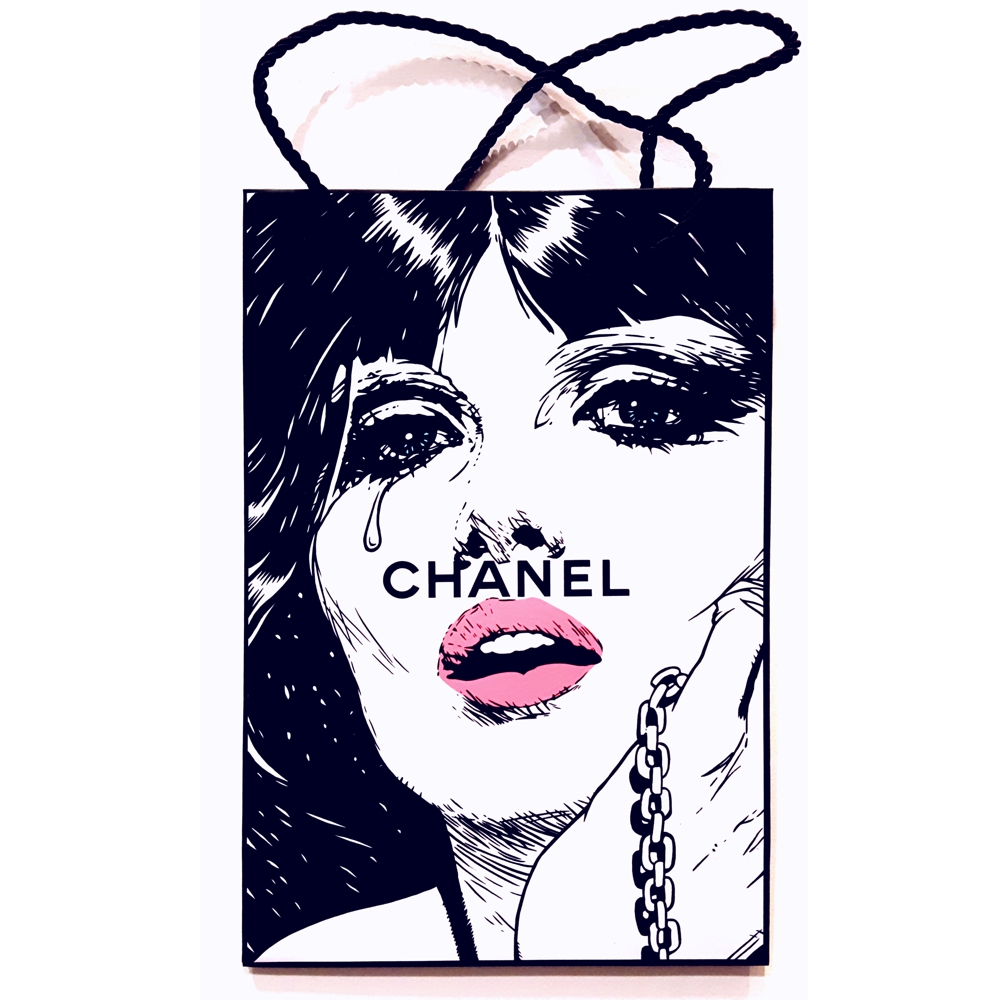 Chains of Steel - Acrylic on Chanel bag.  2016