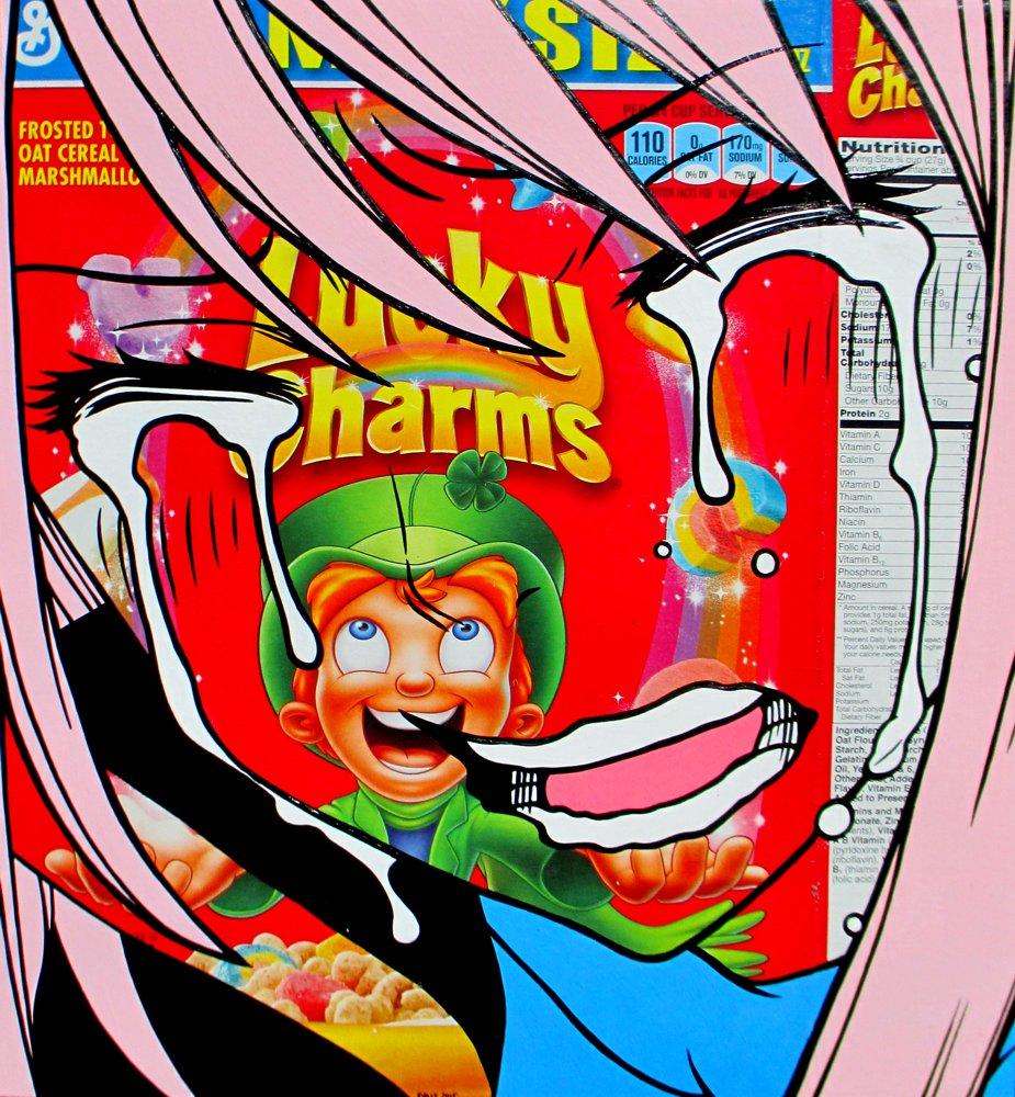 Unlucky Charms - Acrylic on cereal package.  2015
