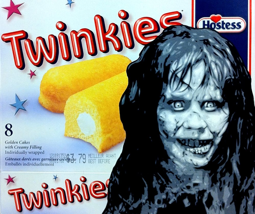 The Power of Cake Compels You - Acrylic on Twinkies package.  2013