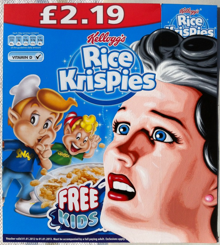 Free Kids - Acrylic on cereal package.  2012