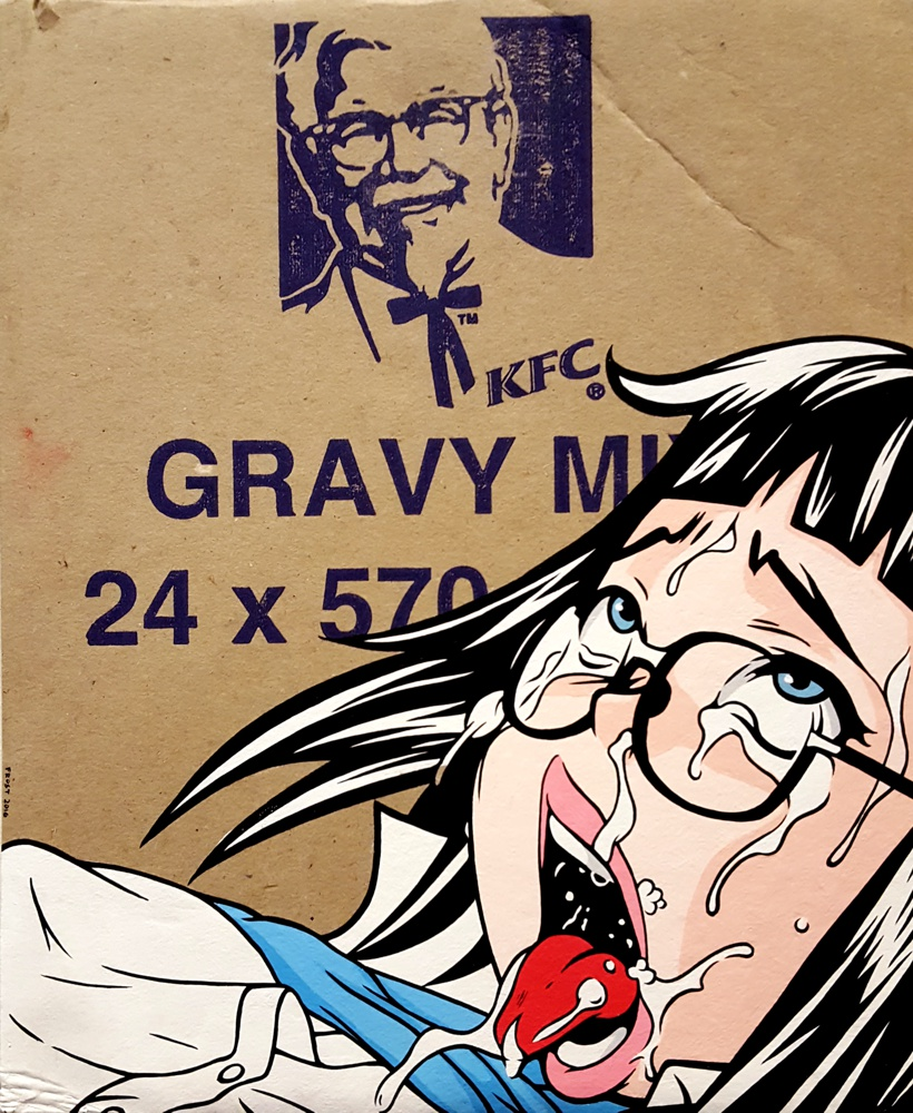 Gravy Mix - Acrylic on Fast food box.  2016