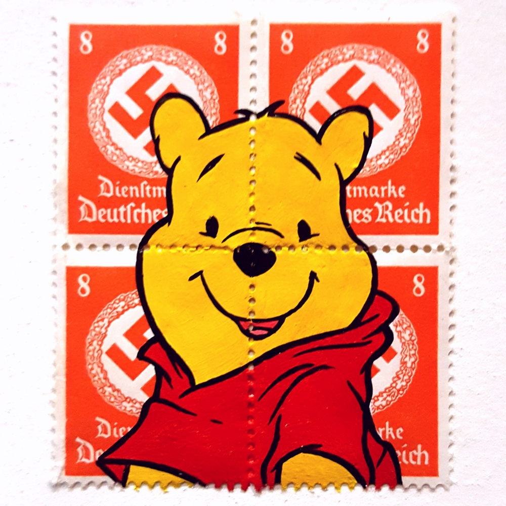 Oh Pooh - acrylic on vintage WW2 stamps.  2016