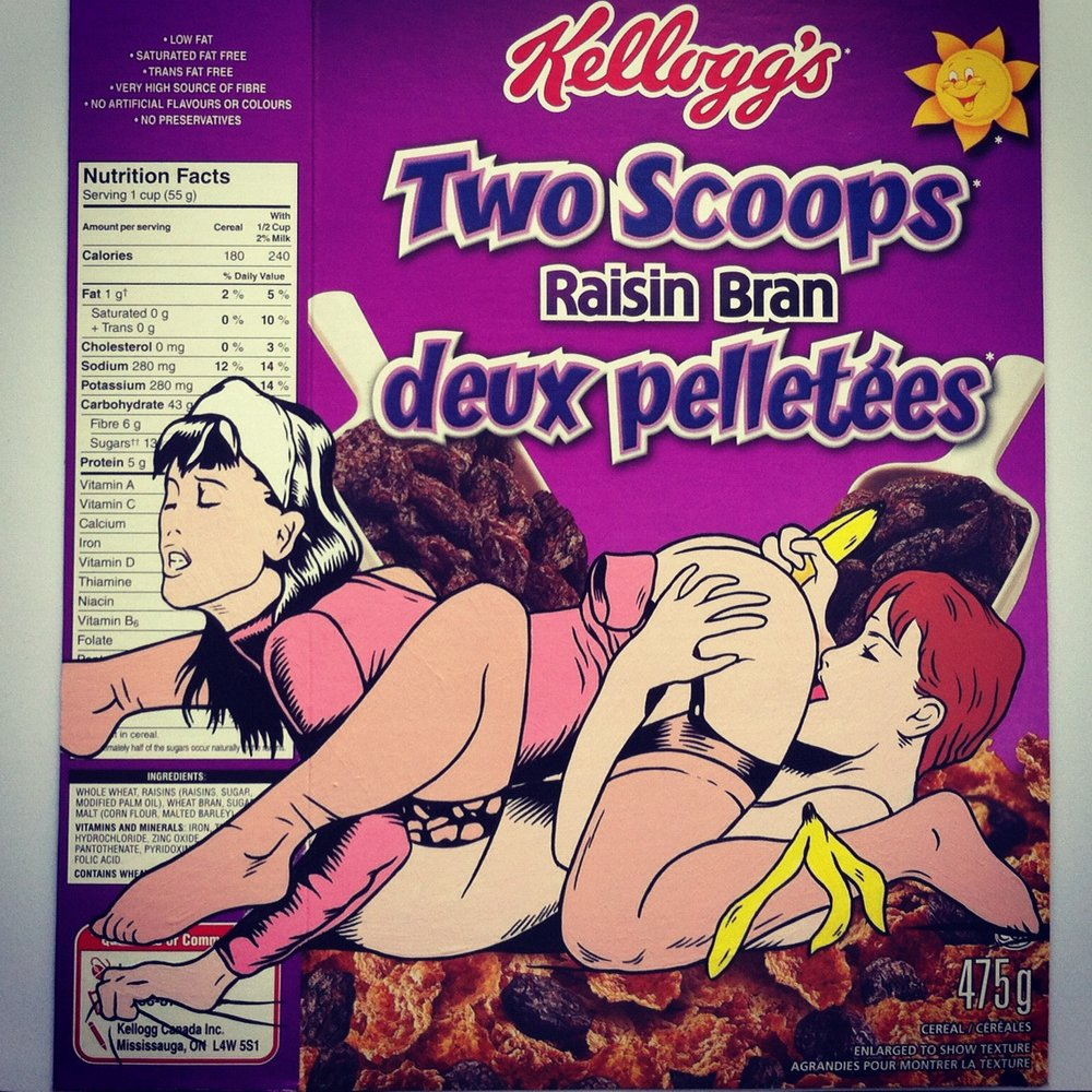 Two Scoops - Acrylic on Cereal package.  2012
