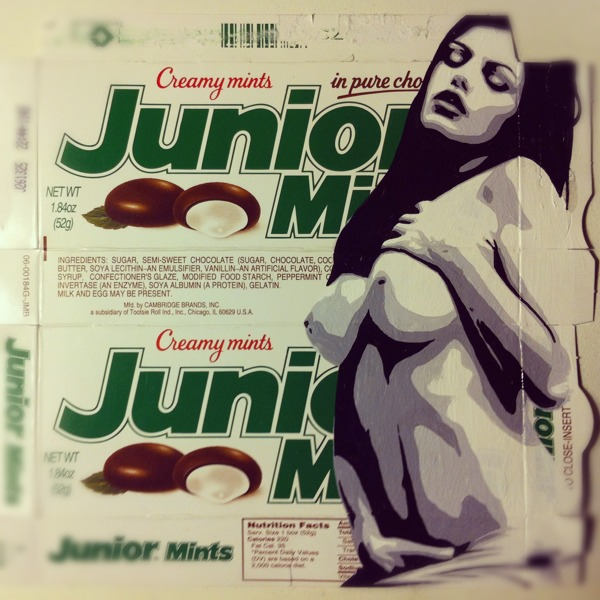 Junior Mints - acrylic on candy package