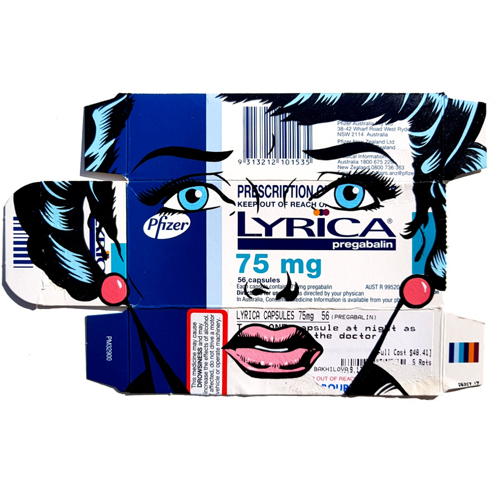 'Lyrica Dreams' acrylic on pharmaceutical package - for my new exhibition RETAIL THERAPY - Opening at Scope Art Fair - Dec 5th, 2017 at Miami Art Basel.. JOIN THE PREVIEW LIST by emailing info@verticalgallery.com @verticalgallery